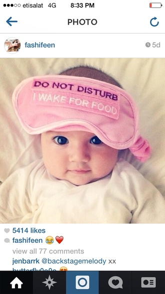 food sleep do not disturb sleep mask quote on it baby clothing lifestyle