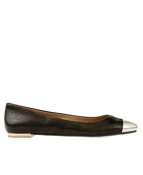 Skylar Exotic Leather Cap Toe Flats | Ann Taylor