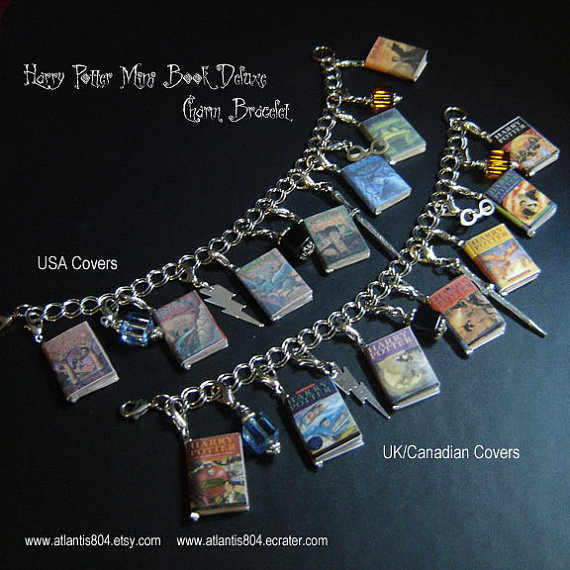 Harry Potter Mini Book Deluxe Charm bracelet  etsy by atlantis804