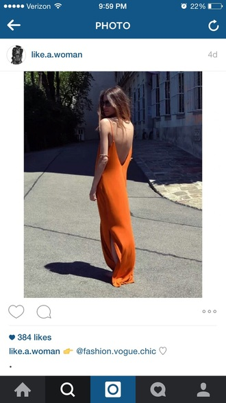 dress orange dress backless dress maxi dress