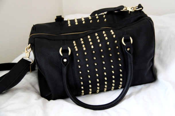 Bag: studs, studded, black, studded bag, accessories, crossbody ...