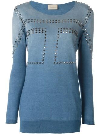 sweatshirt studded women cotton blue sweater