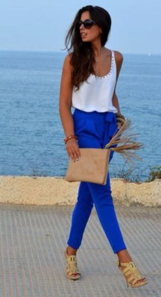 pants blue pants summer pants cobalt blue pants, blouse