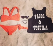 swimwear,coral,orange,black,t-shirt,summer,beach