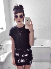 skirt,moon and sun,black skirt,sunglasses,moon,stars,miniskirt,sun,goth,tight,grunge,pagan,wiccan,astronomy