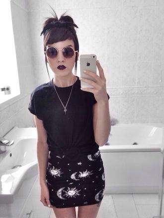 skirt moon and sun black skirt sunglasses moon stars miniskirt sun goth