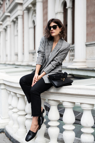 viennawedekind blogger jacket tank top top jeans bag jewels loafers blazer black pants fall outfits plaid blazer plaid grey blazer white top black bag sunglasses earrings jewelry pants