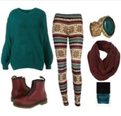 pants,fall outfits,winter outfits,sweater,leggings,green sweater,pattern leggings,aztec,aztec leggings,scarf,brown scarf,brown,snowflake leggings,boots,ring,nail polish,DrMartens,shoes,printed leggings,sweatshirt,basic,knitwear,blouse,shorts,style,shoses brands \,button up blouse,put,red shoes,glasses,green dress,green blouse,jacket,shirt