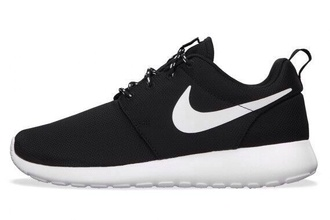 shoes nike air nike roshe run nike running shoes sneakers nike sneakers customized unisex black white nike mens shoes menswear black and white running shoes black sneakers roshe runs roche roche run spotty laces trendy cool nike shoes