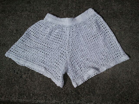 Vintage uc collections fishnet beach shorts vintage by binzorama