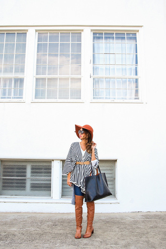 lace and locks blogger sunglasses belt floppy hat stripes tote bag