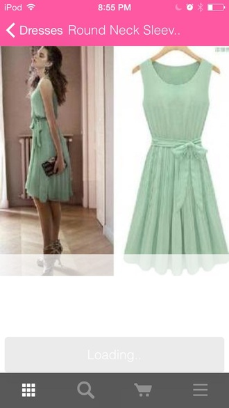dress green dress bow green fashion style clthes