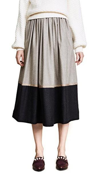 ROSSELLA JARDINI skirt midi skirt midi colorblock dark white beige grey