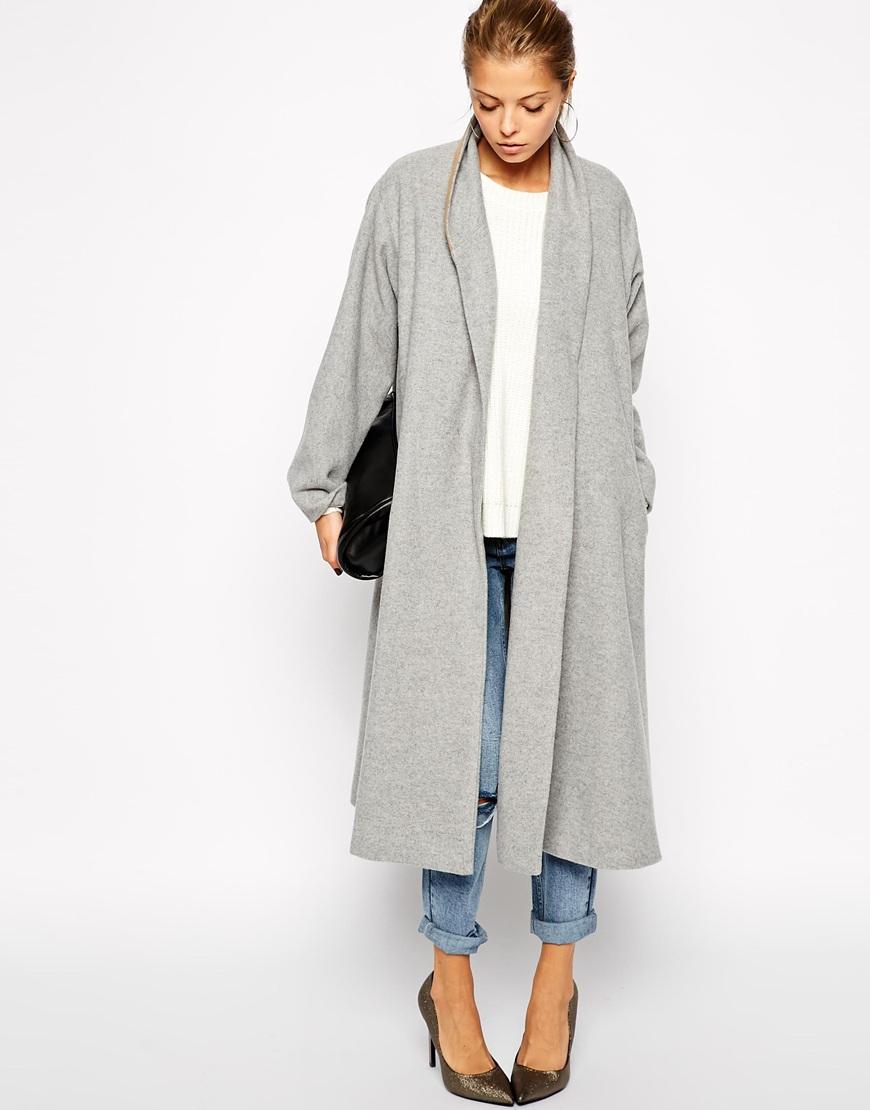 Long Sleeve Lapel Pockets Oversized Coat - Sheinside.com