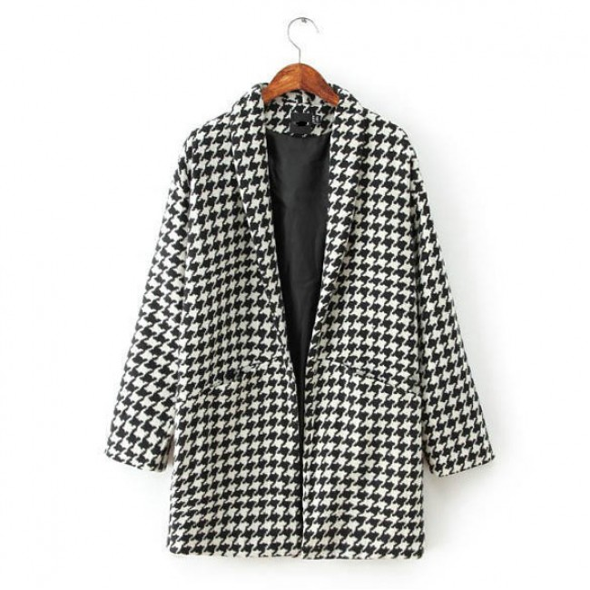 Houndstooth woolen coat