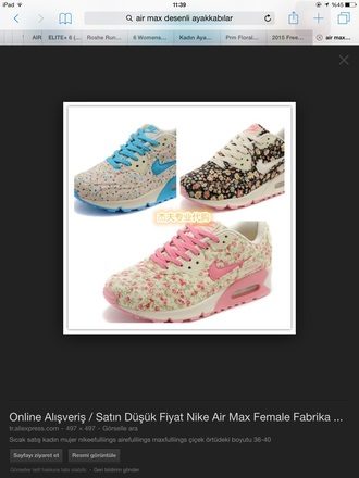 shoes nike floral air maxes colorful shoes pink shoes blue shoes