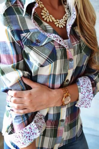 blouse jewels flannel top floral detail shirt plad shirt green yellow blue white button up blouse plaid shirt plaid