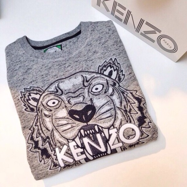 8ee925b85bc sweater, grey, kenzo, kenzo, kenzo paris sweater, sweatshirt, tiger ...