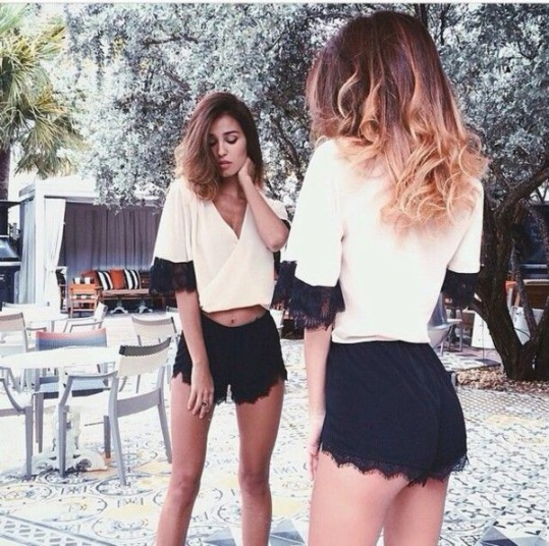 shorts elegant black lace white black lace lace top lace shorts blouse shirt t-shirt fashion formal