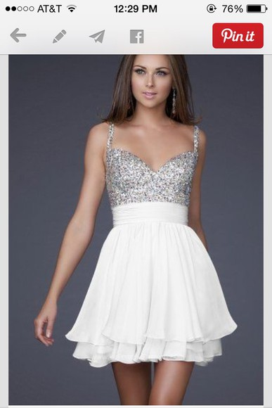 sparkly homecoming dress white