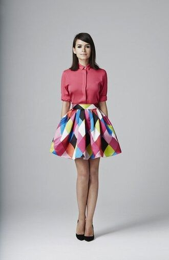 skirt top pink blue squares tulip skirt