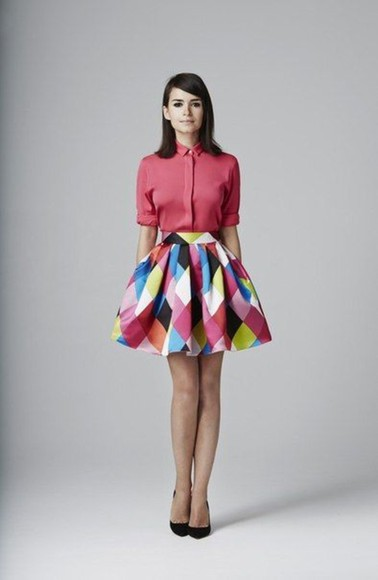 pink skirt blue squares tulip skirt