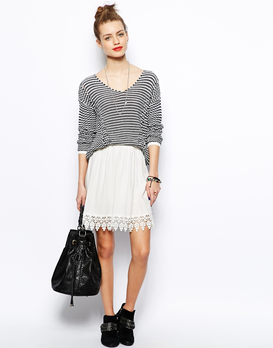 New Look Crochet Hem Skater Skirt at asos.com