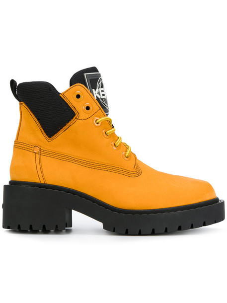 Kenzo women water boots lace leather yellow orange shoes