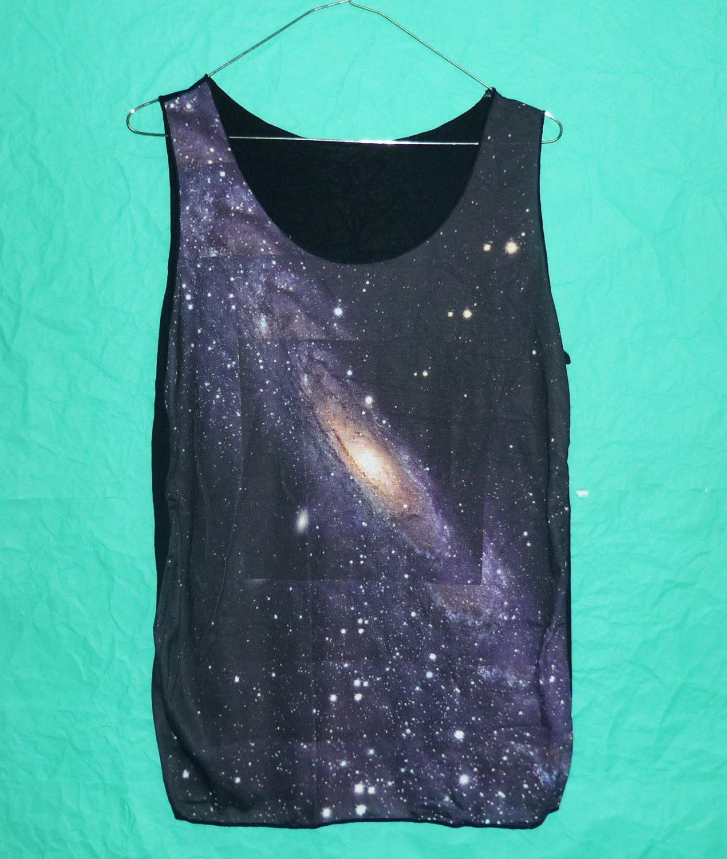 Ladies shirt gray galaxy tank top sky nebula gray violet cosmic thin shirt universe sleeveles teen singlet ladies tee size m/l