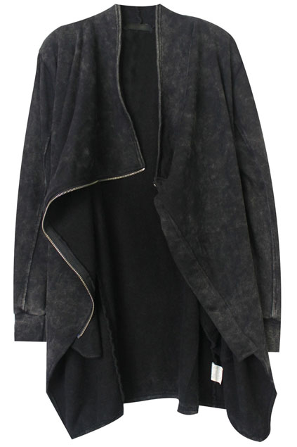 ROMWE | ROMWE Asymmetric Zippered Pocketed Grey Coat, The Latest Street Fashion