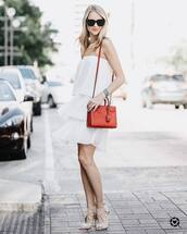 dress,tumblr,mini dress,white dress,bag,red bag,sandals,sandal heels,high heel sandals,nude sandals,sunglasses,shoes