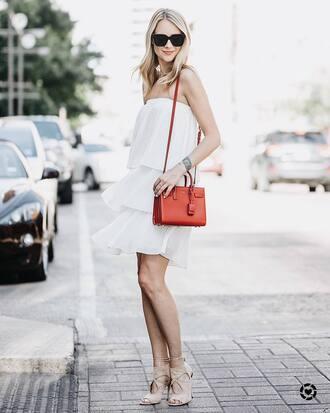 dress tumblr mini dress white dress bag red bag sandals sandal heels high heel sandals nude sandals sunglasses shoes