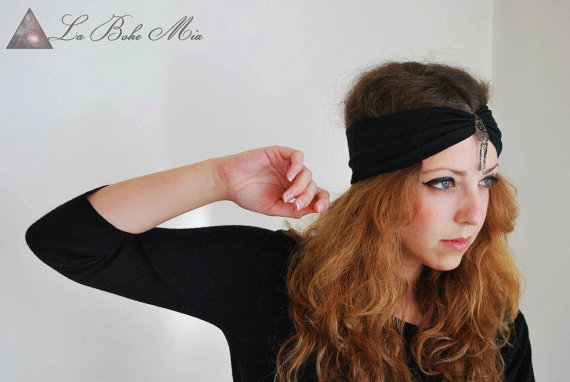 Blue Headband Headwrap Bohemian Fashion Vintage by ChicUtopia