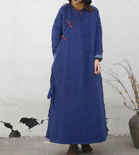 coat winter coat blue winter robe long coat