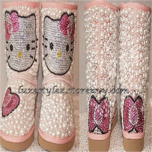 Hello Kitty Pearl & Crystal Boots - Luxe Stylez - Online Store Powered by Storenvy