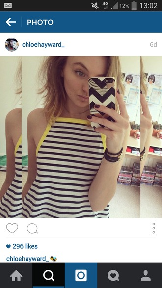 top stripes black white yellow vibrant summer top summer