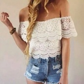 blouse,white,ruffle,cute,coldshoulder,white ruffles,lace top,top,knit,shirt,crop tops,crop,off the shoulder,lace,off shoulder crop top