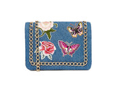 bag,denim,denim bag,patch,crossbody bag,chain bag,patched bag,roses,embroidered,butterfly,asos