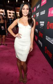 dress,vanessa hudgens,bustier,white,white dress,latex