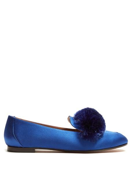 Aquazzura loafers satin blue shoes