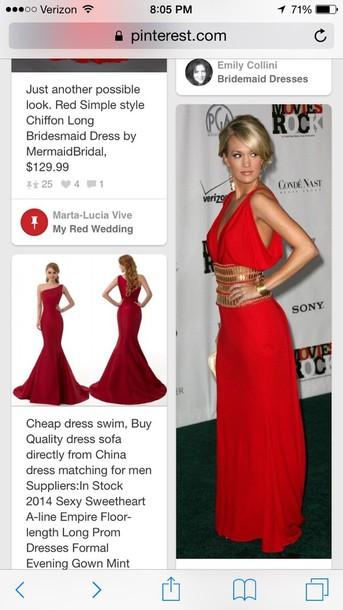 dress red grecian dress
