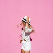 vickys style,blogger,white top,crochet top,white shorts,lace shorts,white hat,all white everything,summer outfits,summer shorts