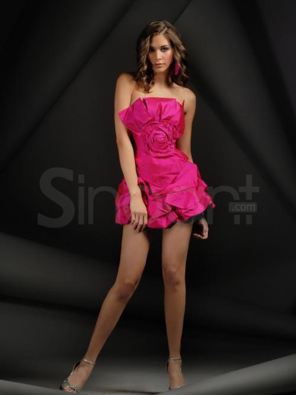 dress strapless and sleevelss fuchsia prom dress a-line prom dress for both prom and homecoming