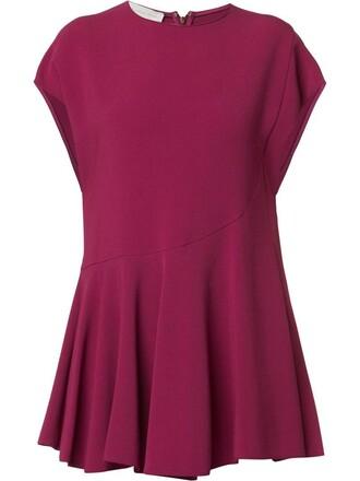blouse pleated women spandex purple pink top
