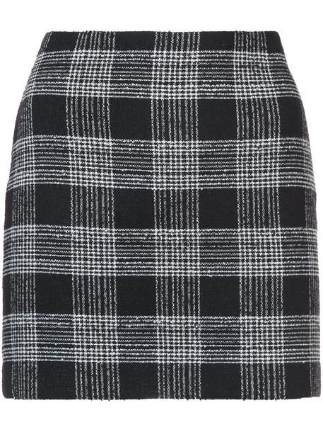 skirt short skirt short women black wool checkered