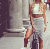 grey skirt sexy,grey skirt,high low skirt,tight,greyskirt,long,crop,top,cream,skirt