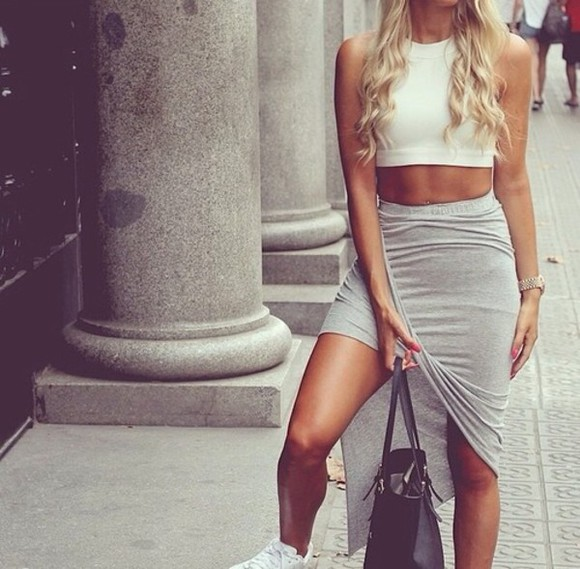 grey skirt tight high low skirt grey skirt sexy