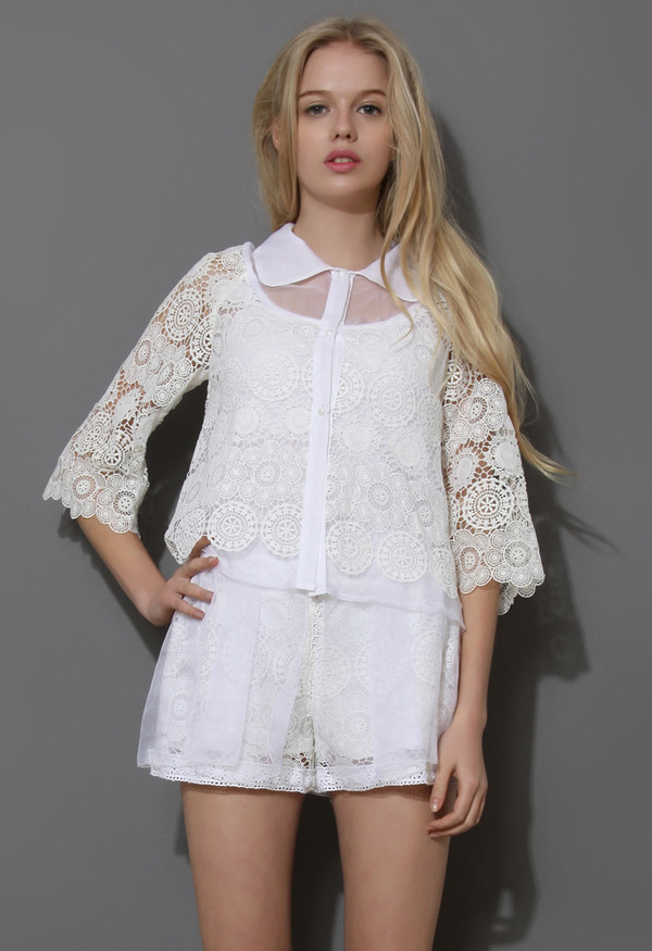 shirt grace white lace crochet top shorts set