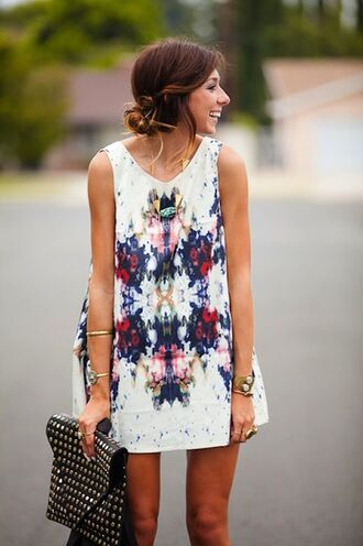 dress watercolor shift dress blue red floral floral dress