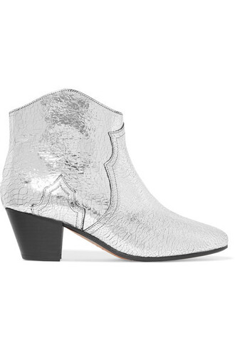 leather ankle boots metallic ankle boots silver leather shoes